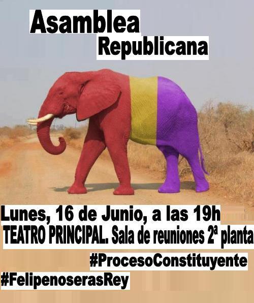 Cartel. Asamblea republica 16 Junio.
